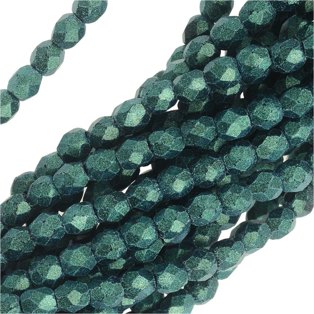Czech Fire Polished Glass, 3mm Faceted Round Beads, 50 Piece Strand, Metallic Light Green Suede