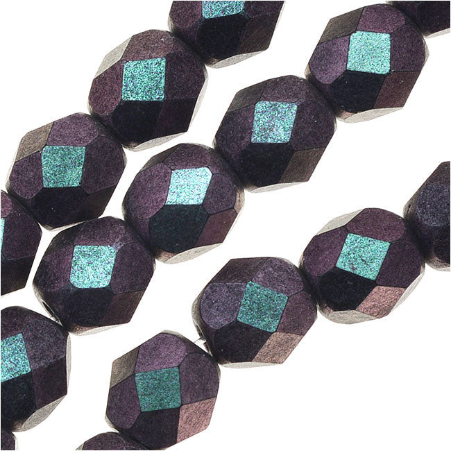 Czech Fire Polished Glass, 6mm Faceted Round Beads, 25 Piece Strand, Orchid Aqua Polychrome