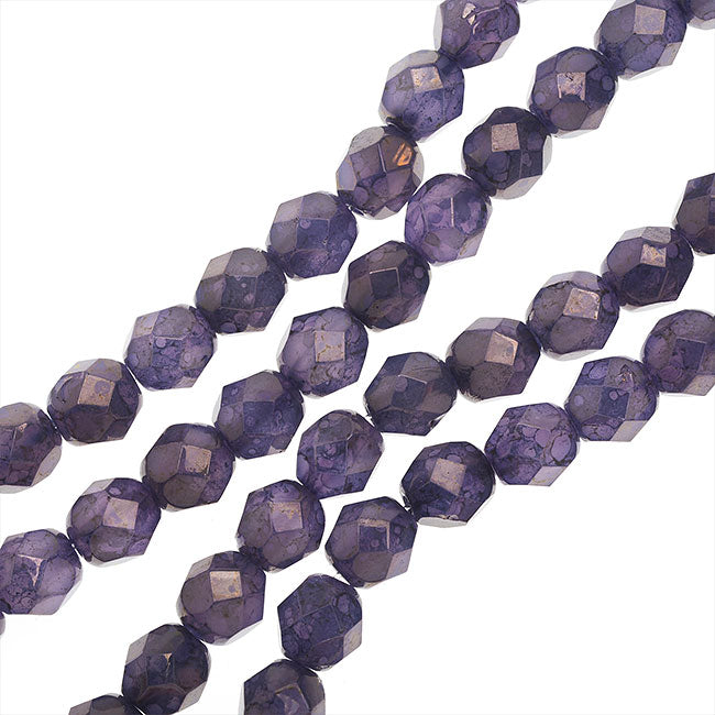 Czech Fire Polished Glass, 6mm Faceted Round Beads, 25 Piece Strand, Milky Alexandrite Moon Dust