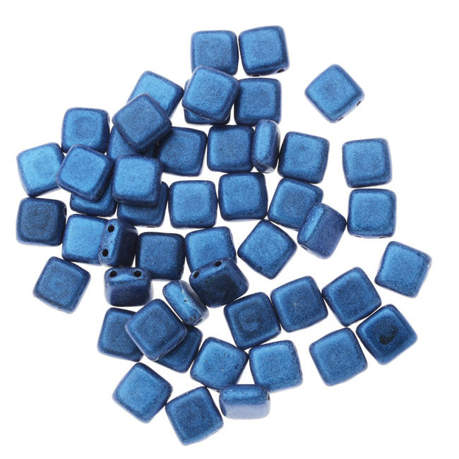 CzechMates Glass, 2-Hole Square Tile Beads 6mm, 1 Strand, Metallic Blue Suede