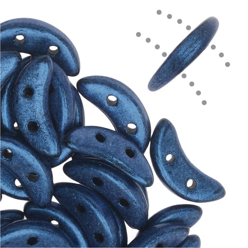 CzechMates Glass, 2-Hole Crescent Beads 10x4.5mm, 10 Grams, Metallic Blue Suede