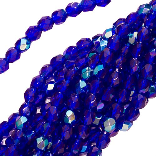 Czech Fire Polished Glass Beads 3mm Round Cobalt AB (50)