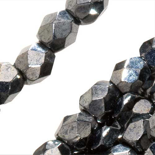 Czech Fire Polished Glass Beads 3mm Round Hematite (50)