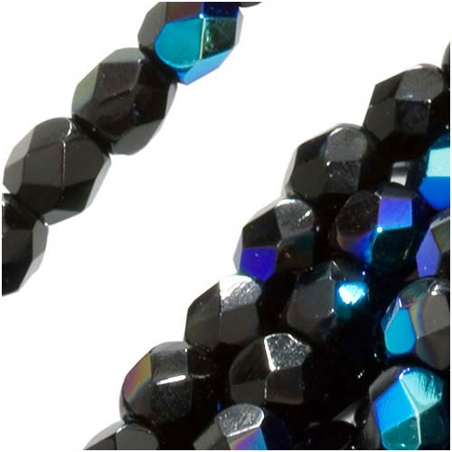 Czech Fire Polished Glass Beads 3mm Round Jet Black AB (50)