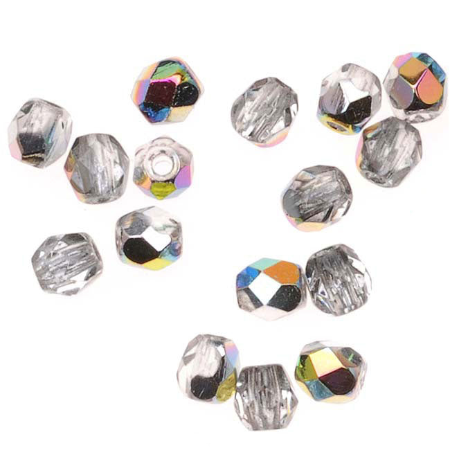 Czech Fire Polished Glass Beads 3mm Round 'Crystal Vitrail' (50)