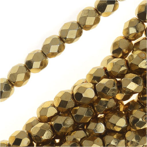 Czech Fire Polished Glass Beads, Faceted Round 4mm, 50 Pieces, Aurum Gold