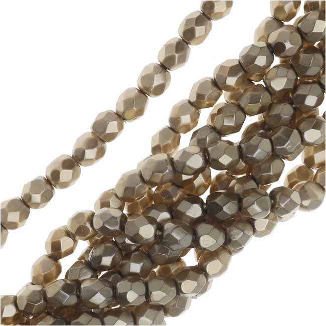 Czech Fire Polished Glass Beads, Faceted Round 4mm, 50 Pieces, Matte Light Gold