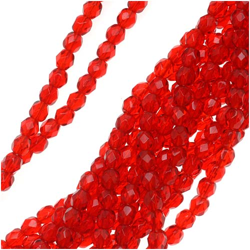 Czech Fire Polished Glass Beads 4mm Round Siam Ruby Red (50)