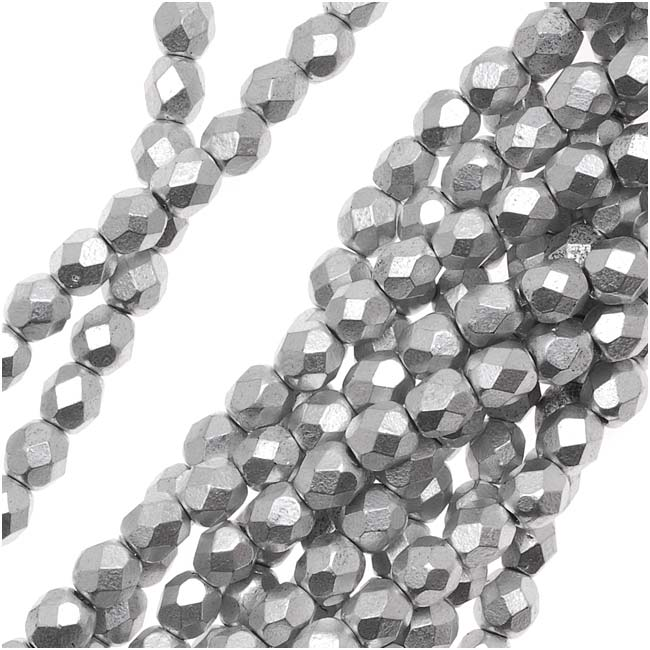 Czech Fire Polished Glass Beads 4mm Round Matte Metallic Silver (50)
