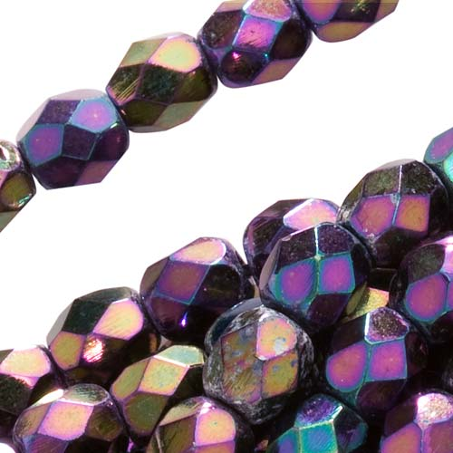 Czech Fire Polished Glass Beads 4mm Round Purple Iris (50)