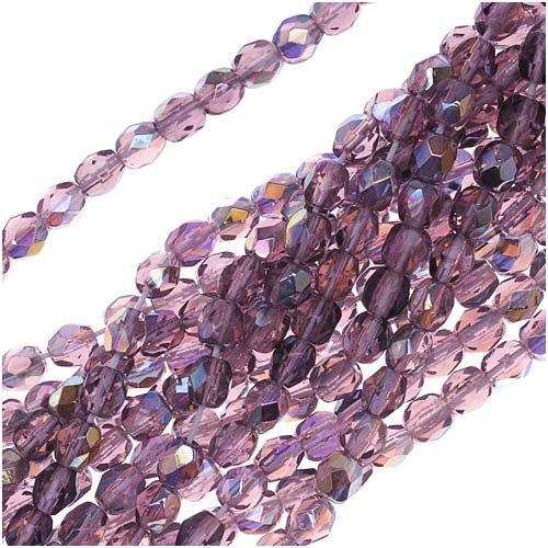 Czech Fire Polished Glass Beads 4mm Round Amethyst AB (50)