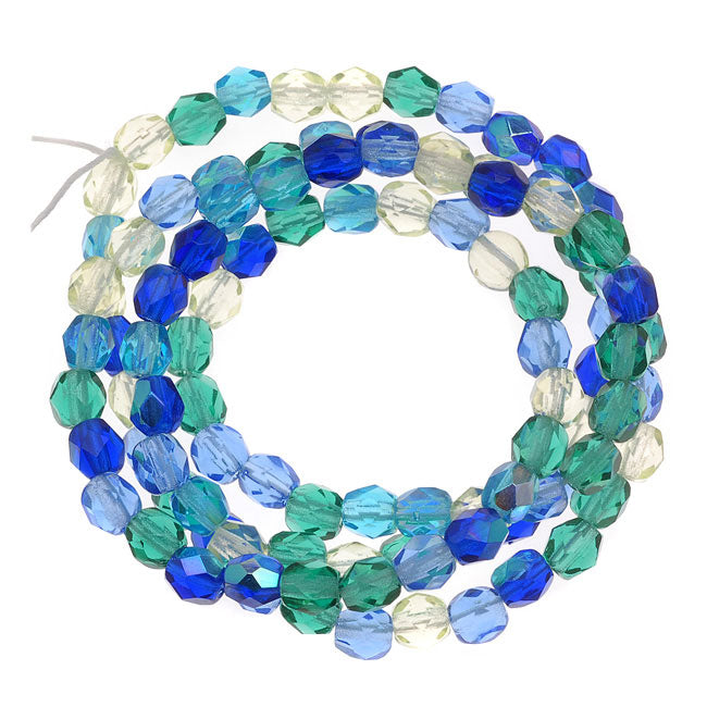 Czech Fire Polished Glass Beads 4mm Round 'Lagoon Blue Green Mix' (100)