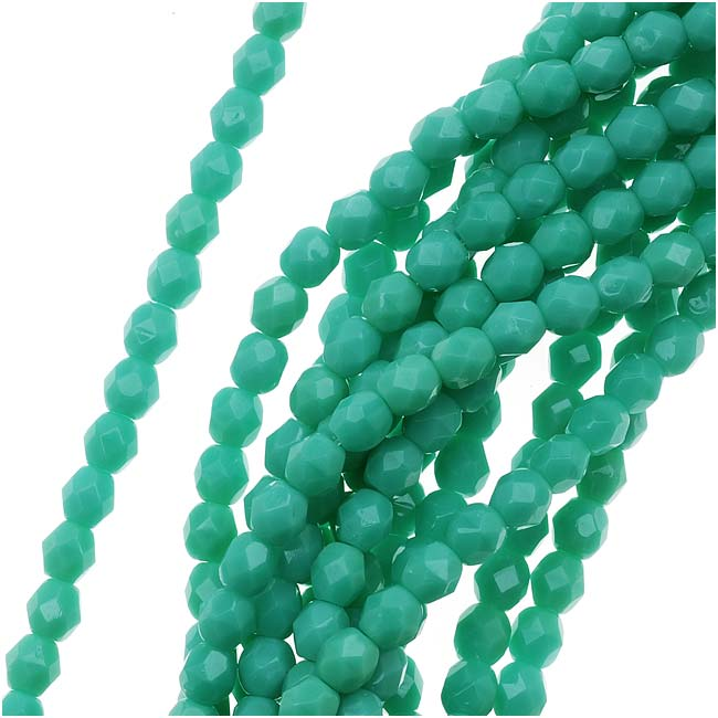 Czech Fire Polished Glass Beads 4mm Round 'Green Turquoise' (50