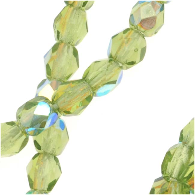 Czech Fire Polished Glass Beads 4mm Round 'Green Olivine AB' (50)