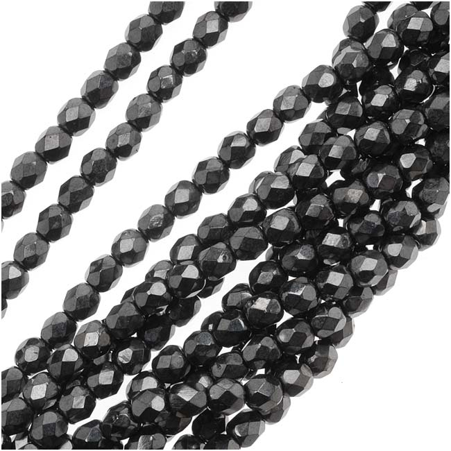 Czech Fire Polished Glass Beads 4mm Round 'Hematite' (50)