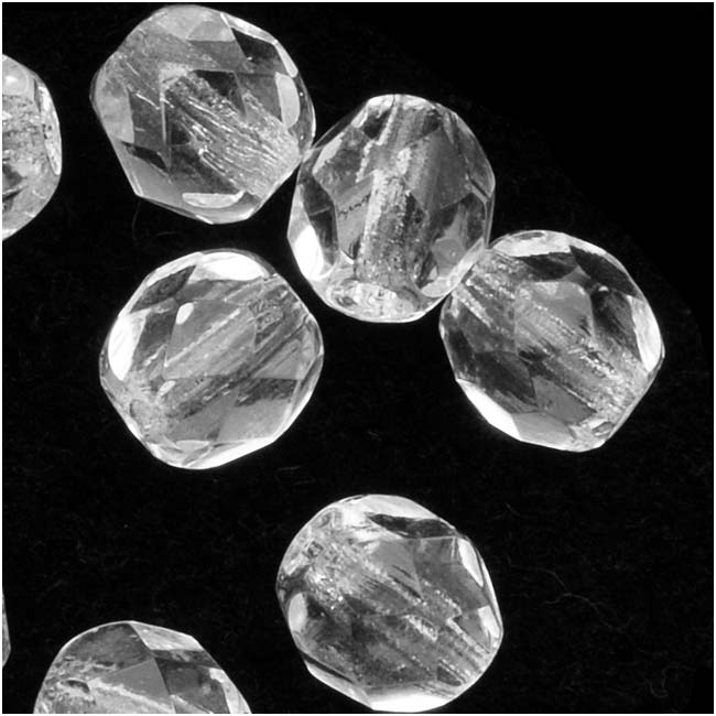 Czech Fire Polished Glass Beads 6mm Round 'Crystal Clear' (25)