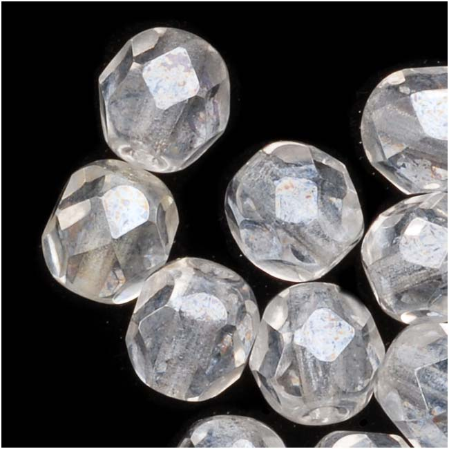 Czech Fire Polished Glass Beads 6mm Round 'Crystal Luster' (25)