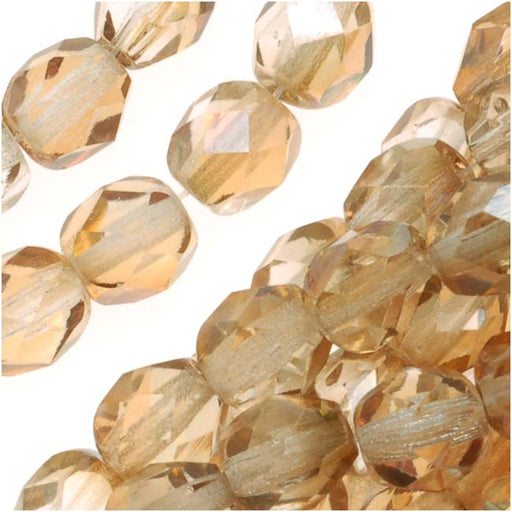 Czech Fire Polished Glass Beads 6mm Round Crystal Celsian (25)