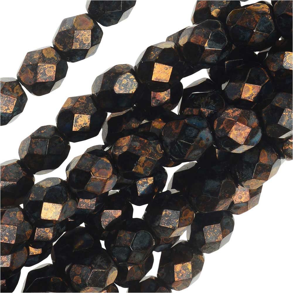 Czech Fire Polished Glass Beads 6mm Round Metallic Gold/Topaz (25)