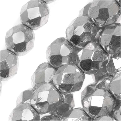 Czech Fire Polished Glass Beads 6mm Round Metallic Silver (25)
