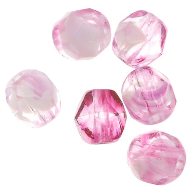 Czech Fire Polished Glass Beads 6mm Round 'Rose Quartz' (25)