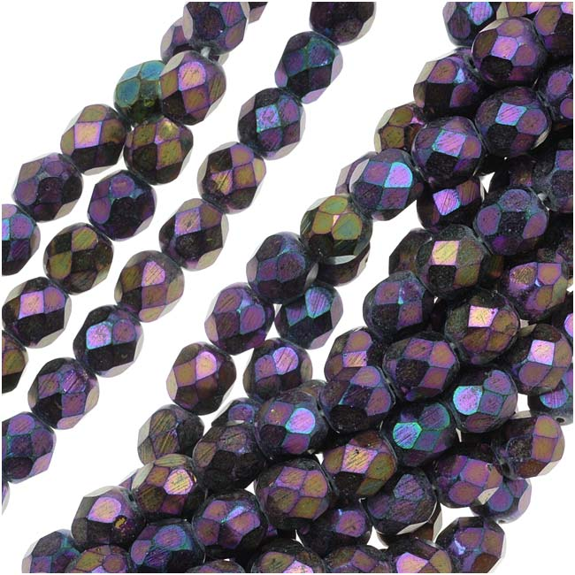 Czech Fire Polished Glass Beads 6mm Round 'Purple Iris' (25)