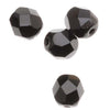Czech Fire Polished Glass Beads 6mm Round Black Jet (25)