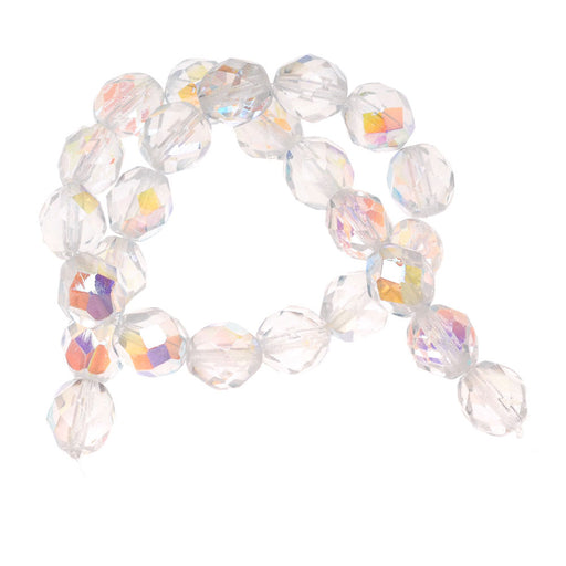 Czech Fire Polished Glass Beads 8mm Round 'Crystal AB' (25)