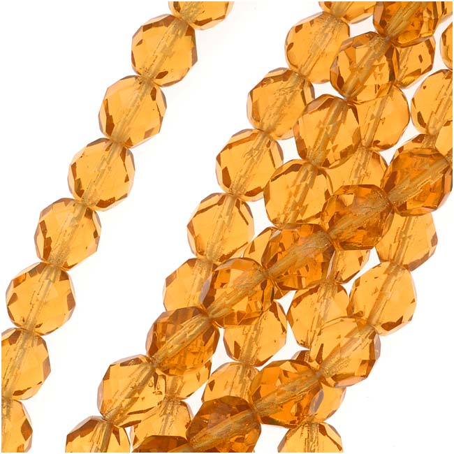 Czech Fire Polished Glass Beads 8mm Round 'Amber Topaz' (25)