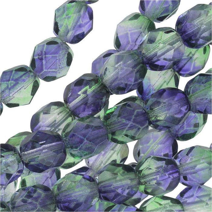 Czech Fire Polished Glass Beads 8mm Round Two Tone Blueberry/Green Tea (25)
