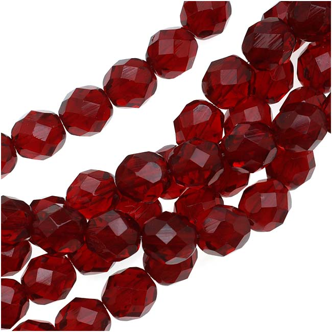 Czech Fire Polished Glass Beads 8mm Round Dark Ruby Red (25)