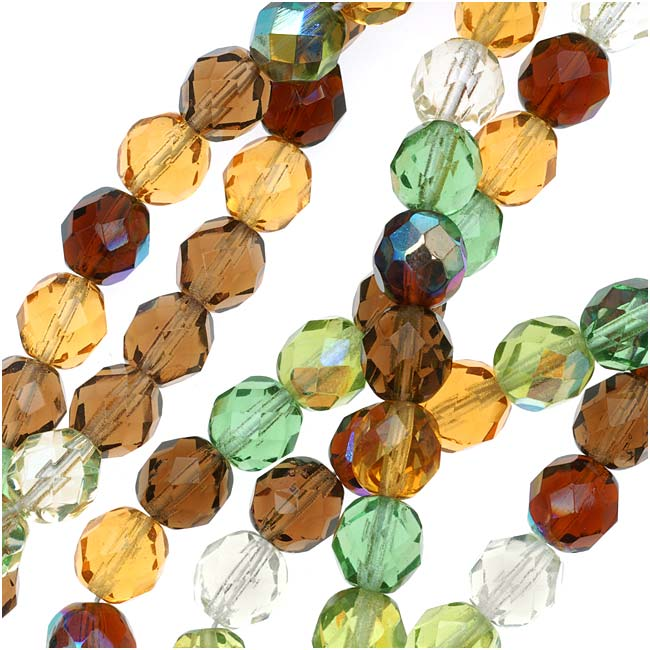 Czech Fire Polished Glass Beads 8mm Round 'Earthtones Green Brown Amber Mix' (50)