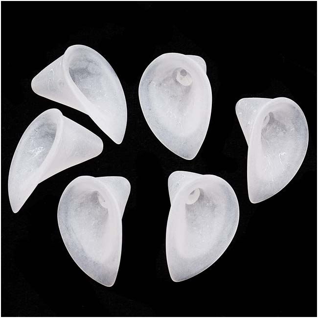 Lucite Classic Calla Lily Flower Beads Matte Frosted Crystal 21mm (6)