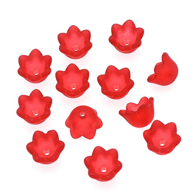 Lucite Tulip / Lily Of The Valley Flower Bead Caps Matte Red 6x10mm (12)
