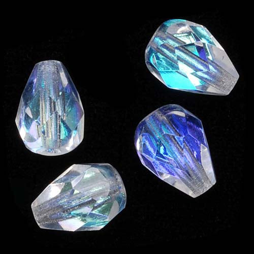 Czech Fire Polished Glass Beads 8 x 6mm Teardrop Crystal AB (20)