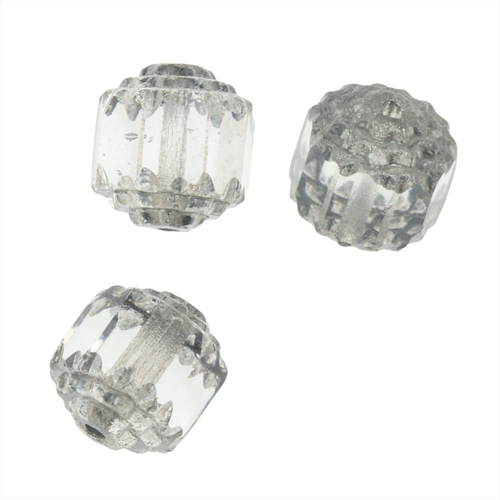 Czech Cathedral 8mm Art Deco Beads Crystal Clear /Silver Ends (10)
