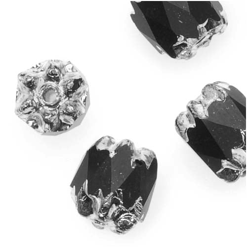 Czech Cathedral Glass Beads 8mm Matte Jet Black/Silver Ends (10)