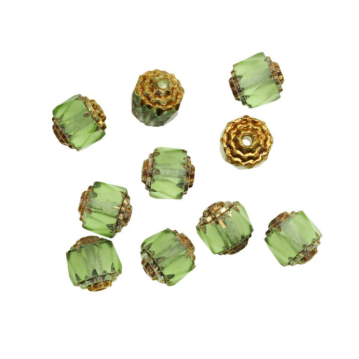 Czech Cathedral Glass Beads 8mm Matte Peridot Green/Gold Ends (10)