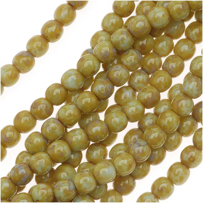 Czech Glass Druk Round Beads 4mm Lt Olive Picasso (100)
