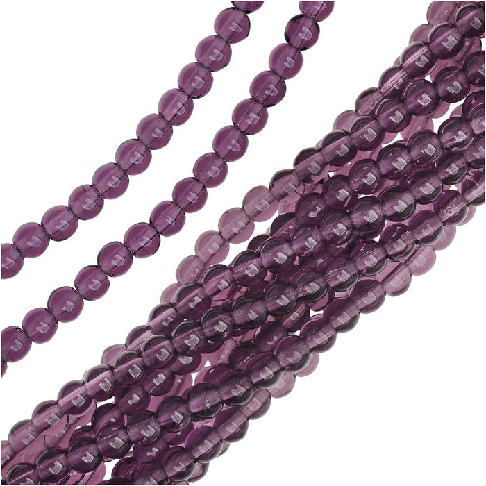 Czech Glass Druk 4mm Round 'Amethyst' (100)