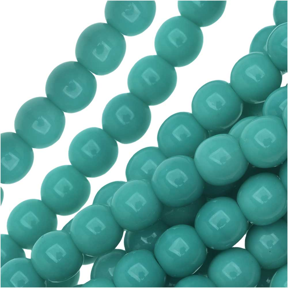 Czech Glass Druk 4mm Round Green Turquoise Beads (100)