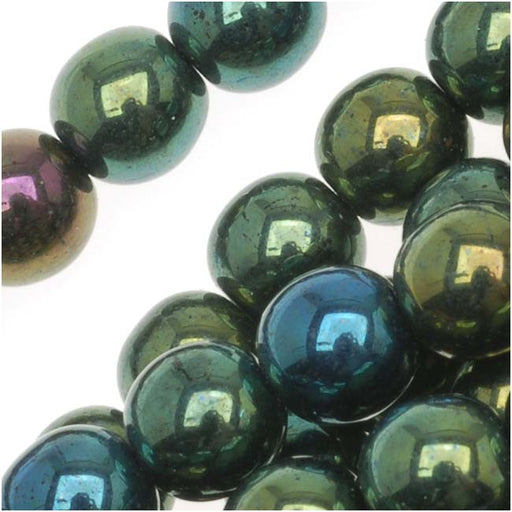 Czech Glass Druk Round Beads 6mm Green Iris (50)