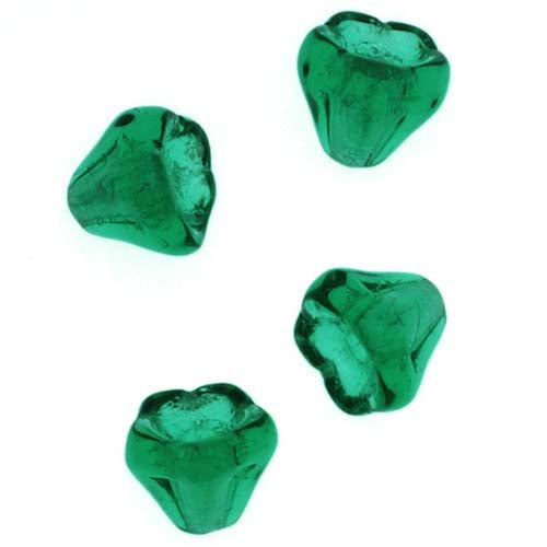 Czech Glass Beads 5mm X 6mm Flower Bell Beadcaps Emerald Green (15)