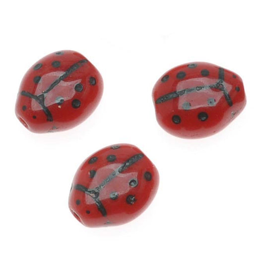 Czech Glass Beads Opaque Red And Black Lady Bug 7x8mm (12)
