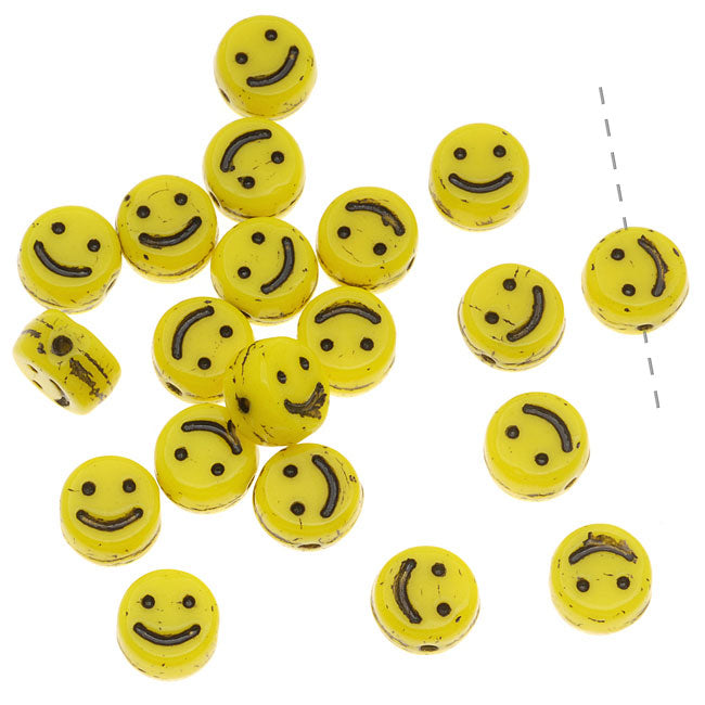 Czech Glass Small 6mm Happy Face Smiley Beads Yellow (20)
