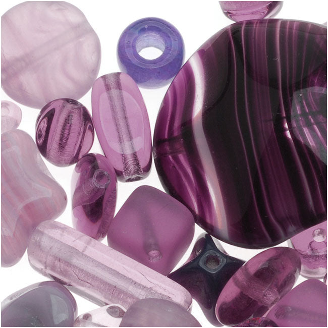 Czech Glass Bead Mix Lot Assorted Shapes Purple (2 oz.)