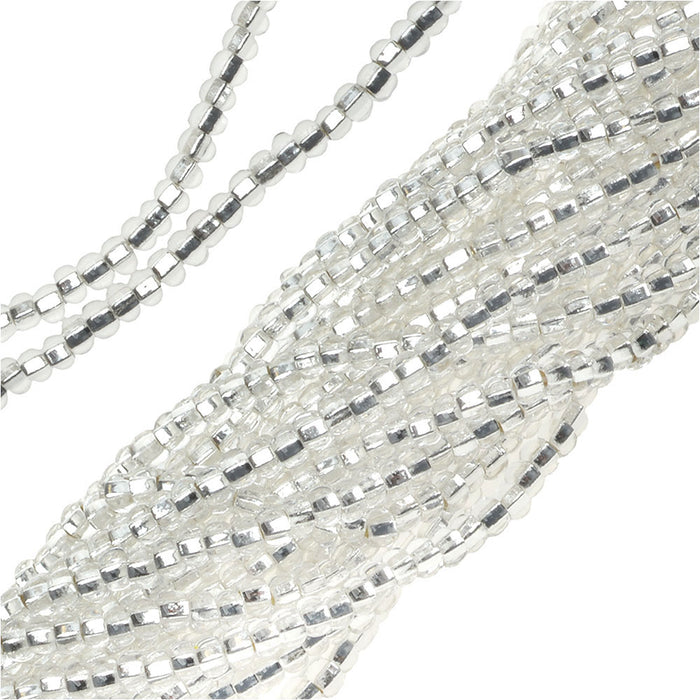 Czech Seed Beads 11/0 Crystal Silver Foil Lined