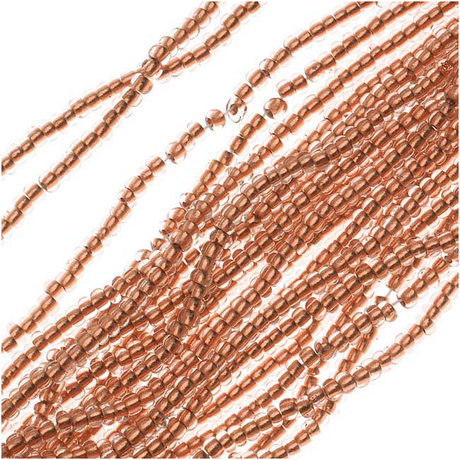 Czech Seed Beads 11/0 Crystal Copper Foil Lined (1 Hank)