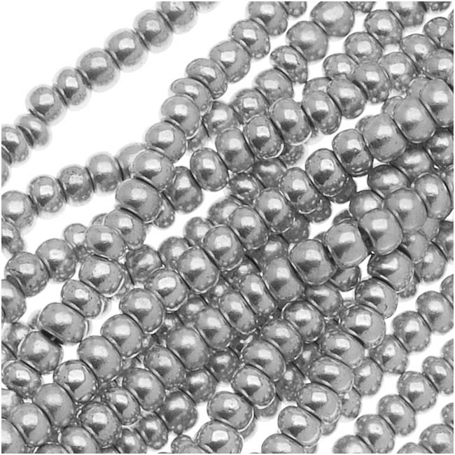 Czech Glass Seed Beads, 11/0 Round, 1 Hank, Silver Supra Metallic