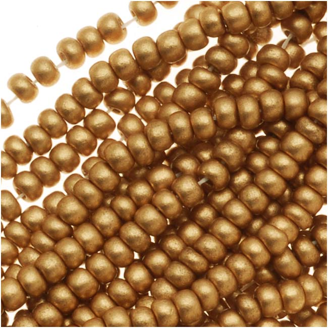 Czech Seed Beads 11/0 Light Gold Supra Metallic (1 Hank)
